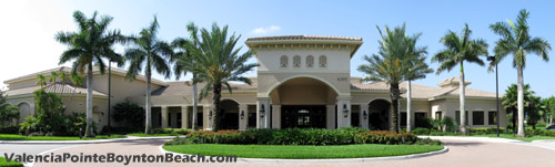 The clubhouse at Valencia Pointe in Boynton Beach, Florida is the center of this community's lifestyle. From the multitude of activities offered, to athletics, to entertainment, and to plain relaxation, this facility is the place you want to spend time and socialize.