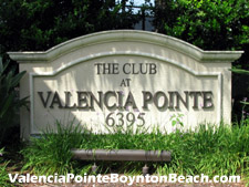 Sign at entrance to the Valencha Pointe recreational area. Here you will find the clubhouse and all other fitness and recreational amenities.