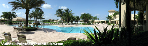 Soak up the Boynton Beach, FL sunshine at the fantastic pool area behind Valencia Pointe's clubhouse. This is luxurious retirement living.