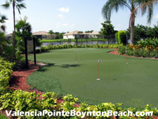 There are plenty of public golf courses in and around Boynton Beach. But What about when you just want to practice your putting? Valencia Pointe provides a putting green for irs residents use.