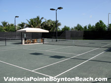 The lighted, Har-Tru tennis courts (six total) at Valencia Pointe are a consistently popular diversion.